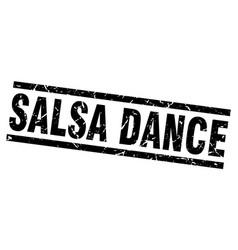 Square grunge black salsa dance stamp vector