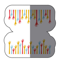 Sticker border colorful set hands up and opened vector