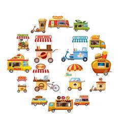 street food kiosk icons set cartoon style vector image