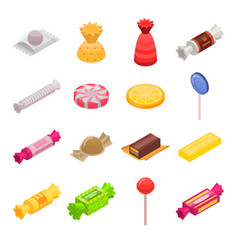 sugar candy icon set isometric style vector image