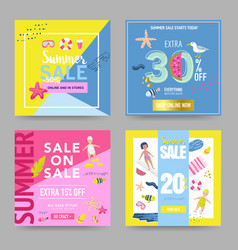summer sale banner set with beach elements vector image