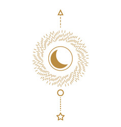 sun and moon sacred line style geometric poster vector image
