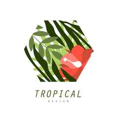 Tropical logo design badge with palm leaves and vector