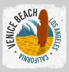 Venice beach california surfing surf design vector