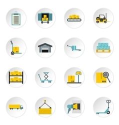 Warehouse icons set flat style vector image