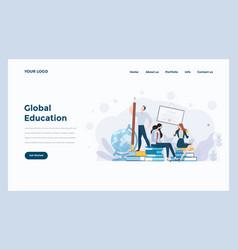 Web design flat modern concept - global educationn vector