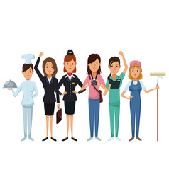 White background with group female people of vector
