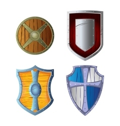Wooden armour set made of wood and metal isolated vector image