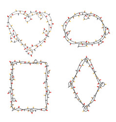 xmas light bulbs frame set heart diamond oval vector image