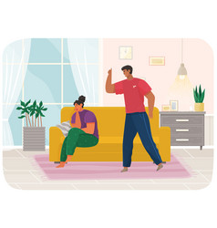 Young couple quarreling man and woman shout vector