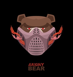 Angry bear in mask A ferocious wild animal vector image vector image