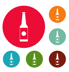 bottle water icons circle set vector image