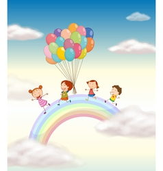 Kids Over the Rainbow vector image vector image