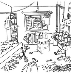 Room with clutter and haos vector image
