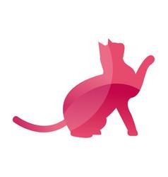 wild cat animal jungle pet logo silhouette of vector image vector image