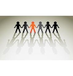 3d pixel human figures in a row vector image vector image
