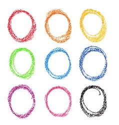 Crayon circle set Colorful oil pastel vector image vector image