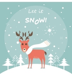 Cute Deer in the Winter Forest Christmas Card vector image