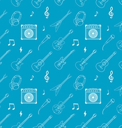 i love music Seamless pattern with guitars vector image