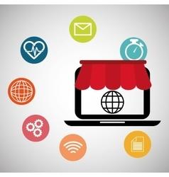 laptop shopping online social media vector image
