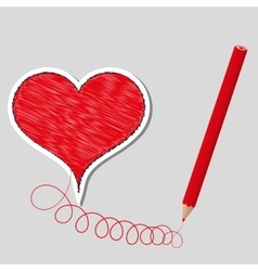 primed heart and pencil vector image