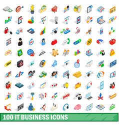 100 it business icons set isometric 3d style vector image vector image