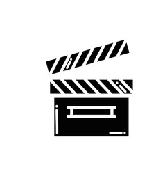 Contour clapper board video filmstrips vector
