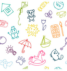 doodle children drawing background seamless vector image