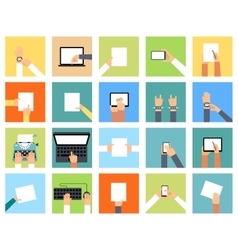 Flat hand icons holding various devices and hands vector image