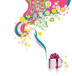 floral background with gift box vector image vector image