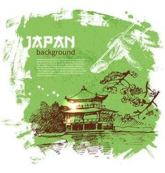 Hand drawn vintage Japanese sushi background vector image