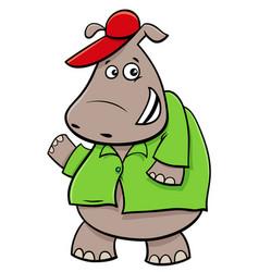 hippopotamus cartoon character vector image vector image
