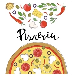 pizza and hand lettering vector image