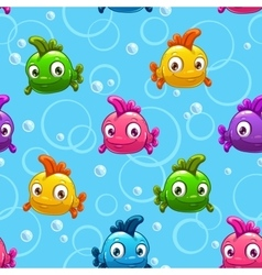 seamless pattern with cartoon colorful fishes vector image vector image