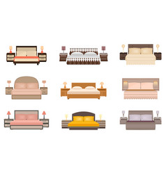 set of warm colors nine bed with bedside tables vector image vector image