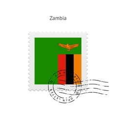 Zambia Flag Postage Stamp vector image vector image