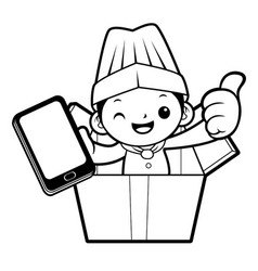 black and white head chef mascot is in big box vector image