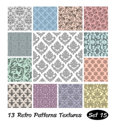 13 Retro Patterns Textures Set 15 vector image