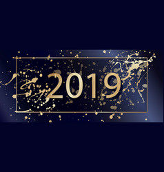 2019 happy new year background with golden vector