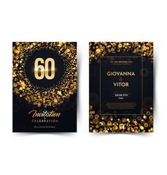 60th years birthday black paper luxury vector