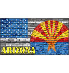Arizona flag on the grey usa flag background vector