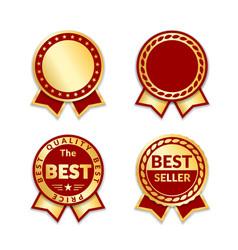 Award ribbon the best seller set vector