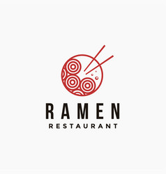 bowl noodle ramen logo from upper view vector image