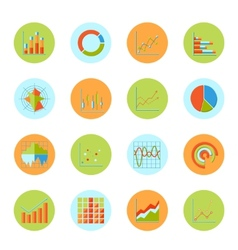Business chart icons flat vector