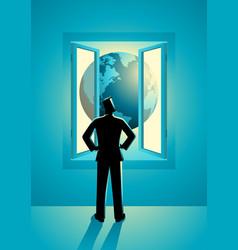 businessman looking through window vector image