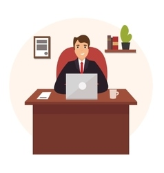Businessman Working at Office Table vector image vector image