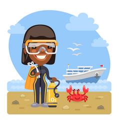cartoon diver on sea beach vector image