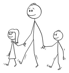 cartoon man or father walking together with vector image