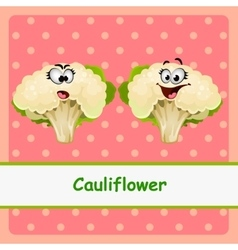Cauliflower funny characters on pink background vector