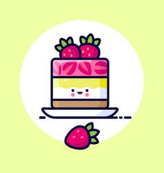 cheesecake whipped cream jelly strawberry kawaii vector image